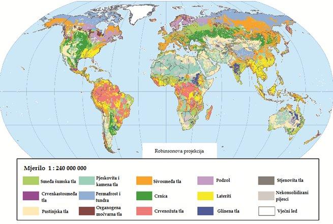 Sl. 1. Rasprostranjenost tala u svijetu